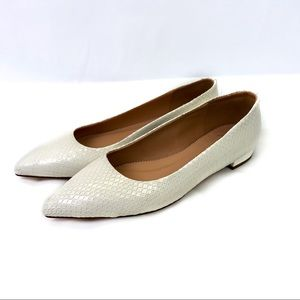 J. Crew Pointed Toe Flats in Snakeskin Leather